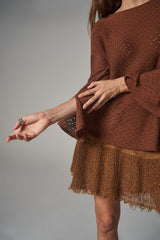Bell Sleeve Knit Jumper - Cable 8 Cacao