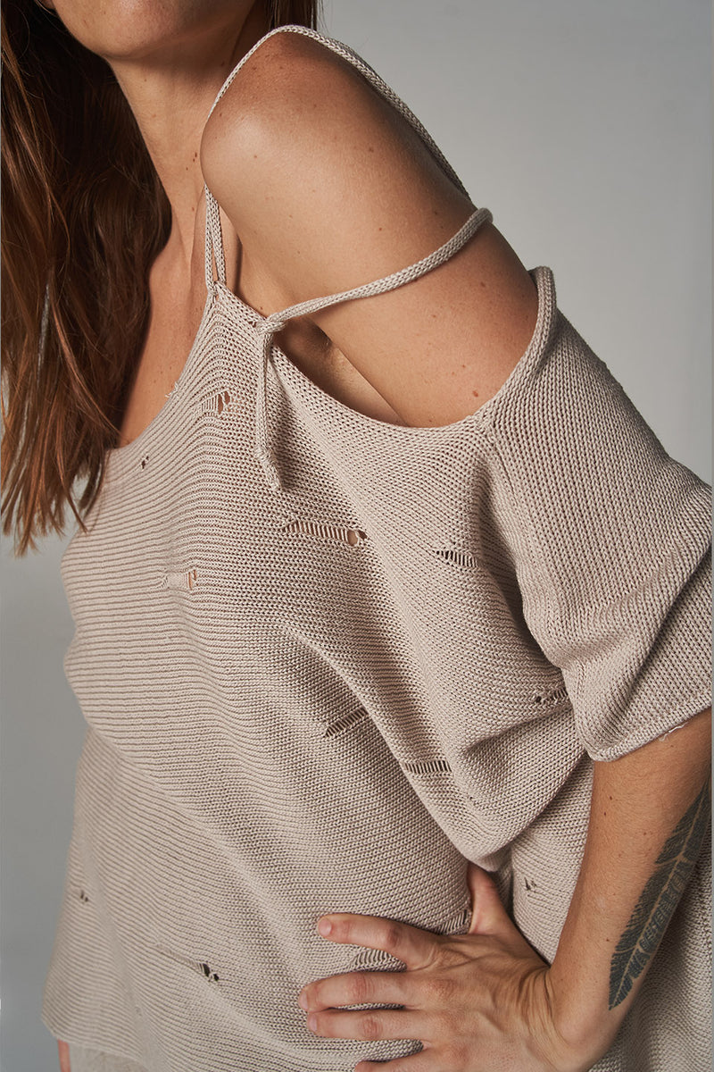 Treville Knit Top - Cable 5 Natural