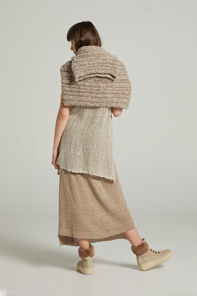 Chunky Alpaca & Wool Blend Roll Neck Jumper  - Toffee