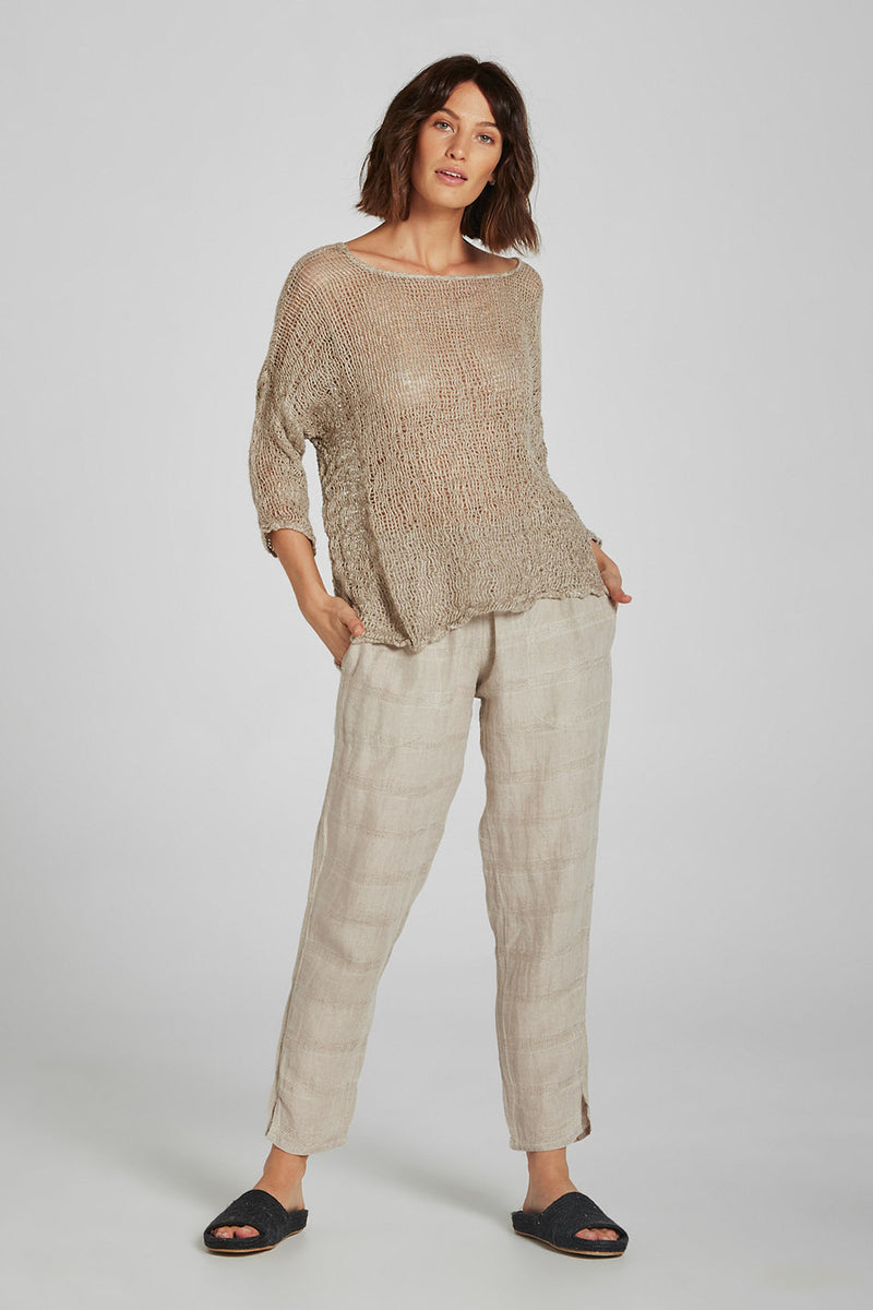 Pocket Cipresso Pant Natural Self Stripe