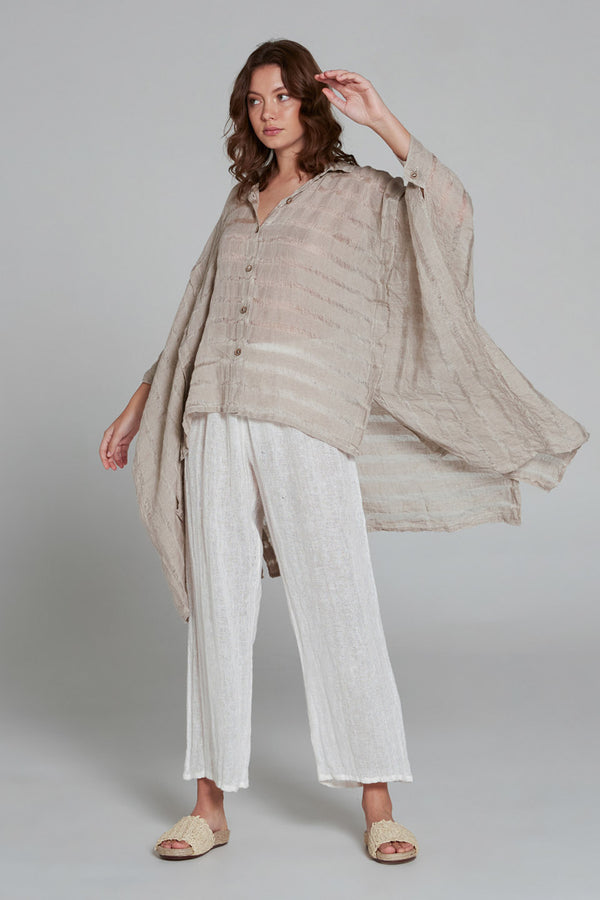 Maxi Anorak Shirt Natural Stripe