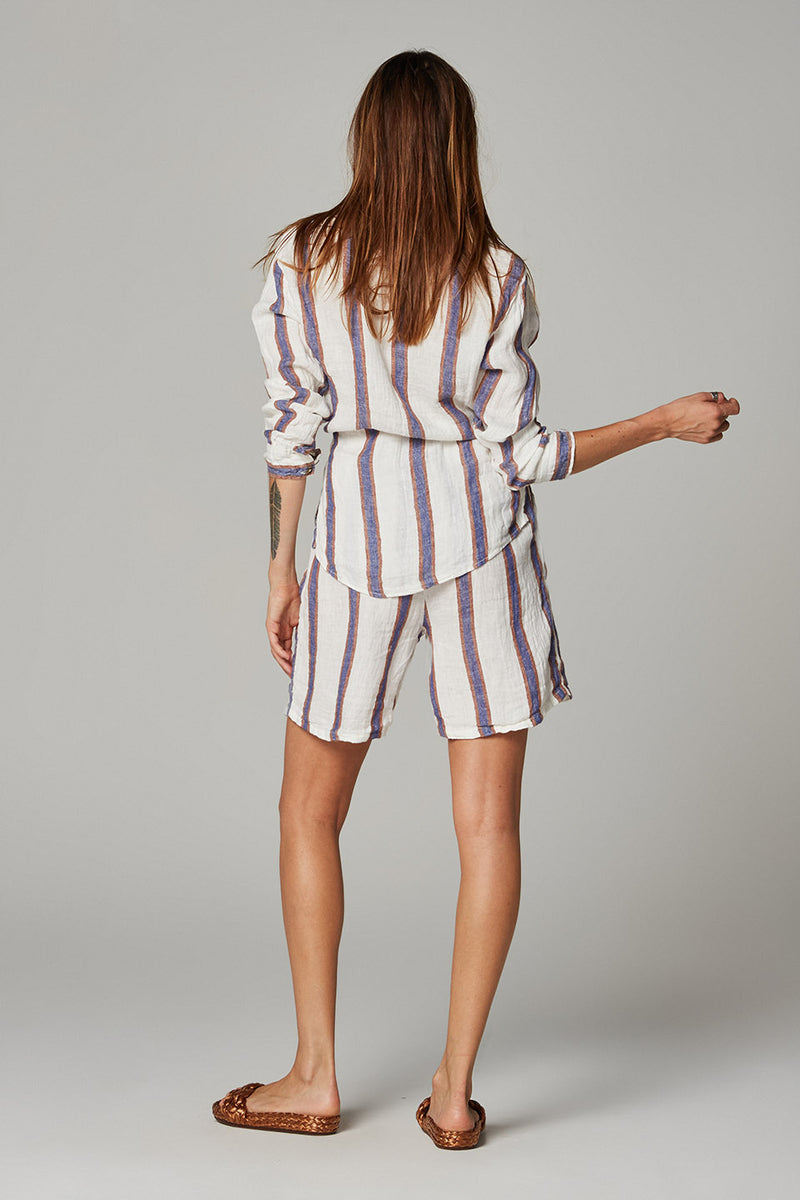Tie-Front Classic Shirt - Roma Stripe