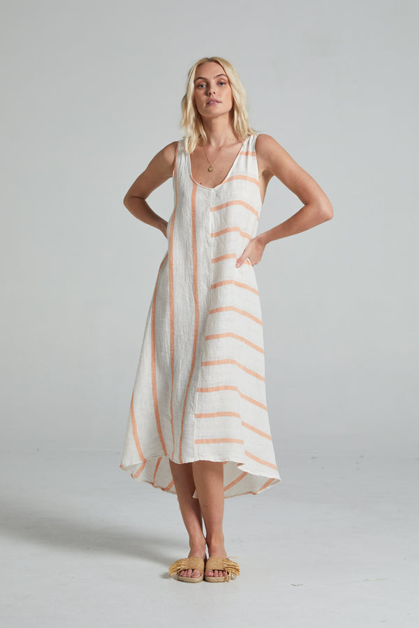 Intero Dress - Orange Atlantic Stripe