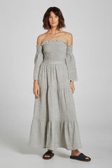 Maxi Tier Skirt - Stone Stripe