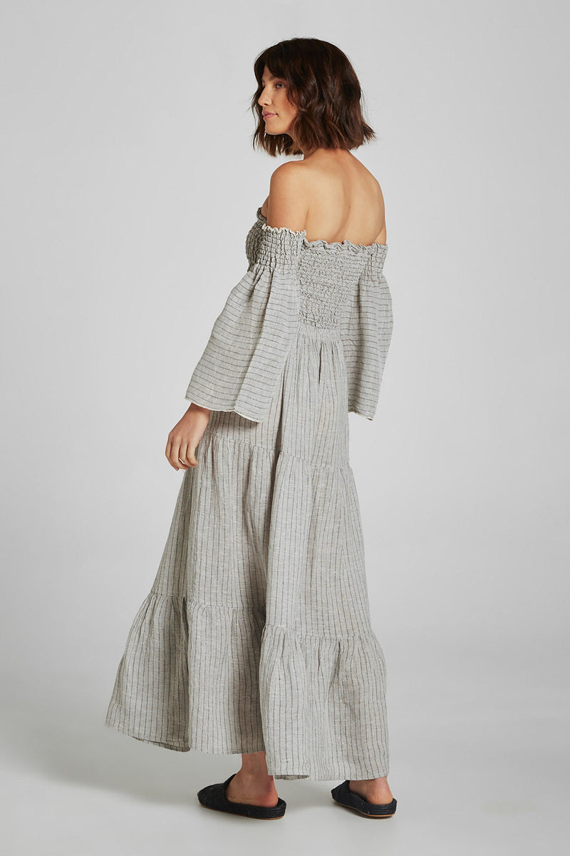Maxi Tier Skirt Stone Stripe