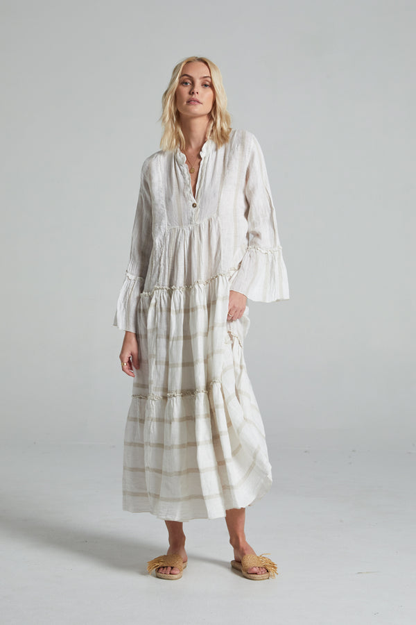 Maxi Sorrento Dress - Natural Atlantic Stripe