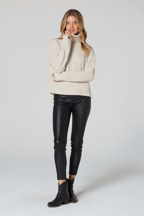 Matilda Wool Roll Neck Jumper Stone