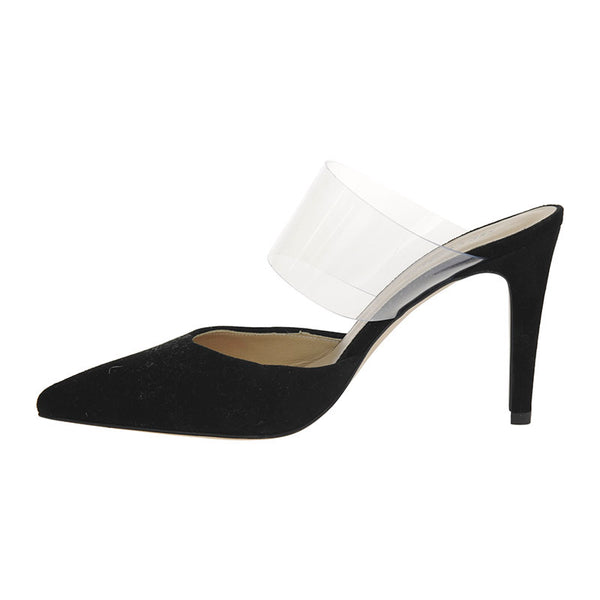 Perspex Pointed Mule Black