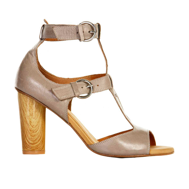 T -Bar Wooden Heel Taupe