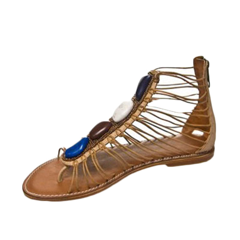 Multi Resin Stone Sandal Camel