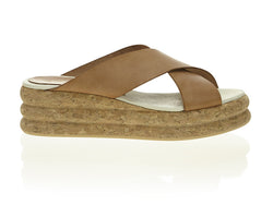 Crossover Cork Slide Tan and Taupe