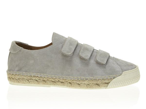 Suede Velcro Strap Low Top Espadrille Sneaker Oyster Grey