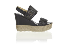 Perforated Platform Wedge Black