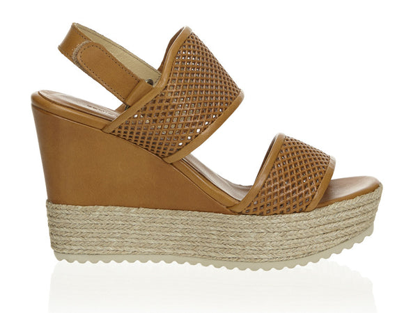 Perforated Platform Wedge Tan