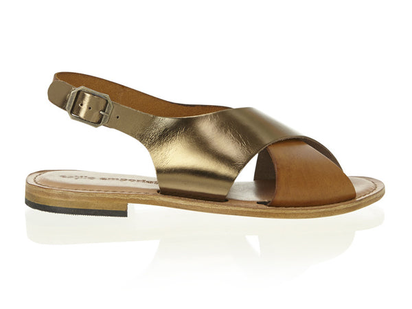 Combo Metallic Crossover Slide Tan/Copper