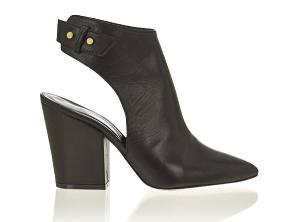 Stacked Heel Cut Out Boot Black