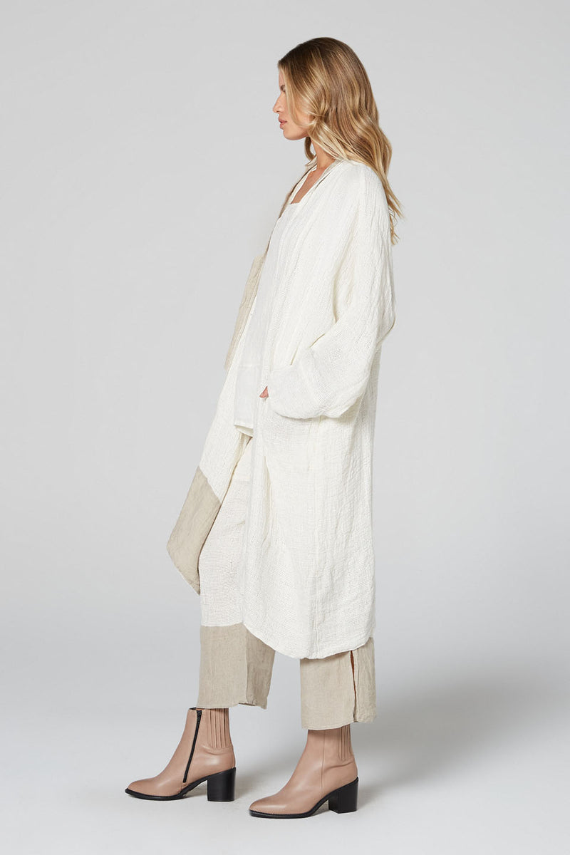 Two Tone Long Vatican Jacket Panna White/Natural