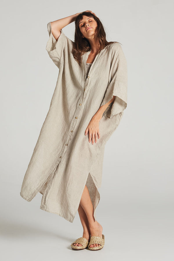 Zia Button Down Kaftan Natural