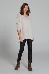 Zoe Cashmere V-Neck Jumper Bisque