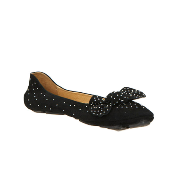 Bow and Stud Ballet Slipper Black