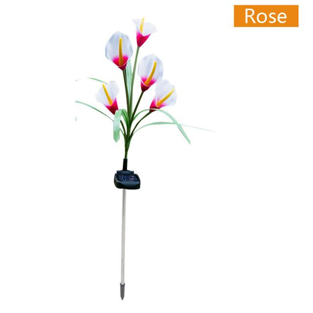 Spring Artificial Lily Solar Garden Stake Lights(1 Pack of 5 Lilies)