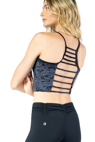 Black Velvet Active Bra with Cage Back Detail From Chill By Will
