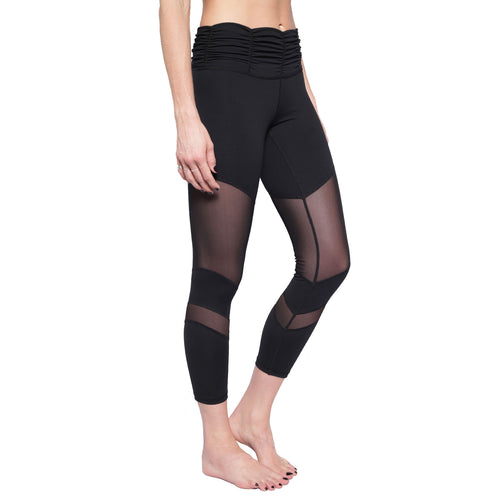 Ruched waistband legging with mesh panel details
