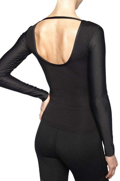 Black active long sleeve top with peep mesh detail fro Chill By Will