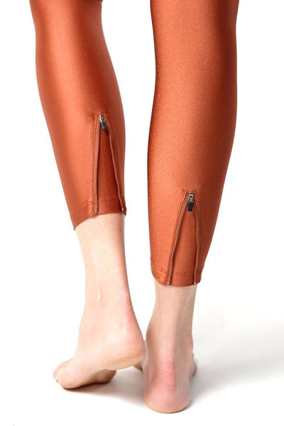 Signature Scrunched Waistband Legging With Zip Ankles in Copper | Chill By Will