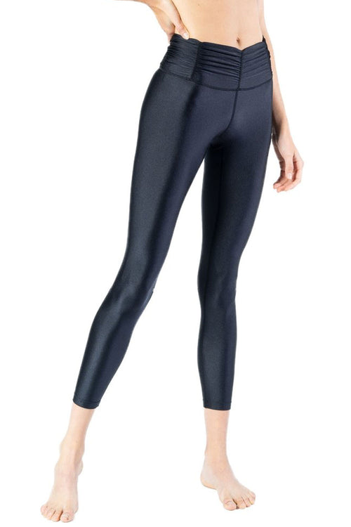 Shiny Black Gathered Waistband Legging with Zip Ankle Details from Chill By Will Activewear