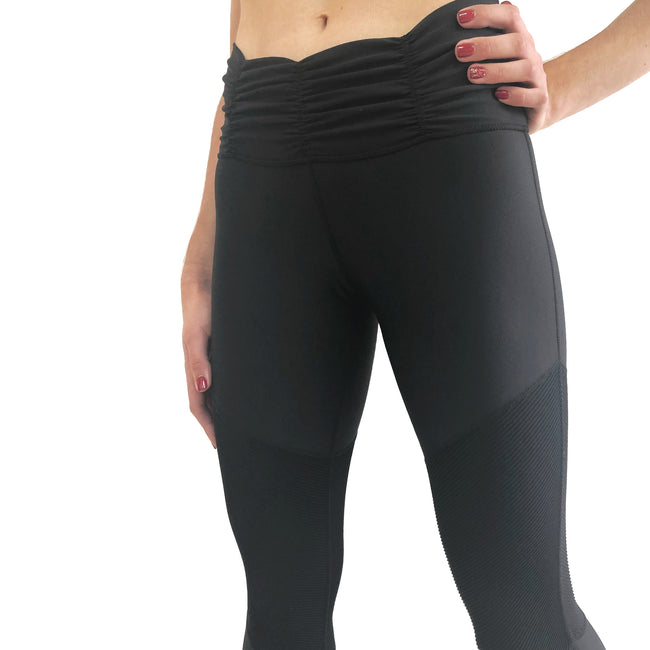 Comfortable ribbed legging with rouched waistband in black from Chill By Will