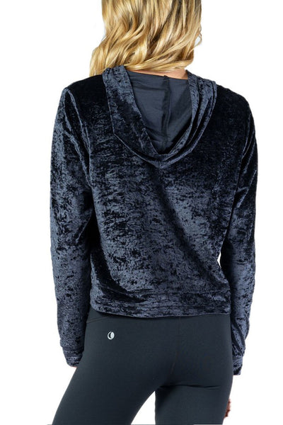 Black Velvet Popover Hoodie from Chill By Will