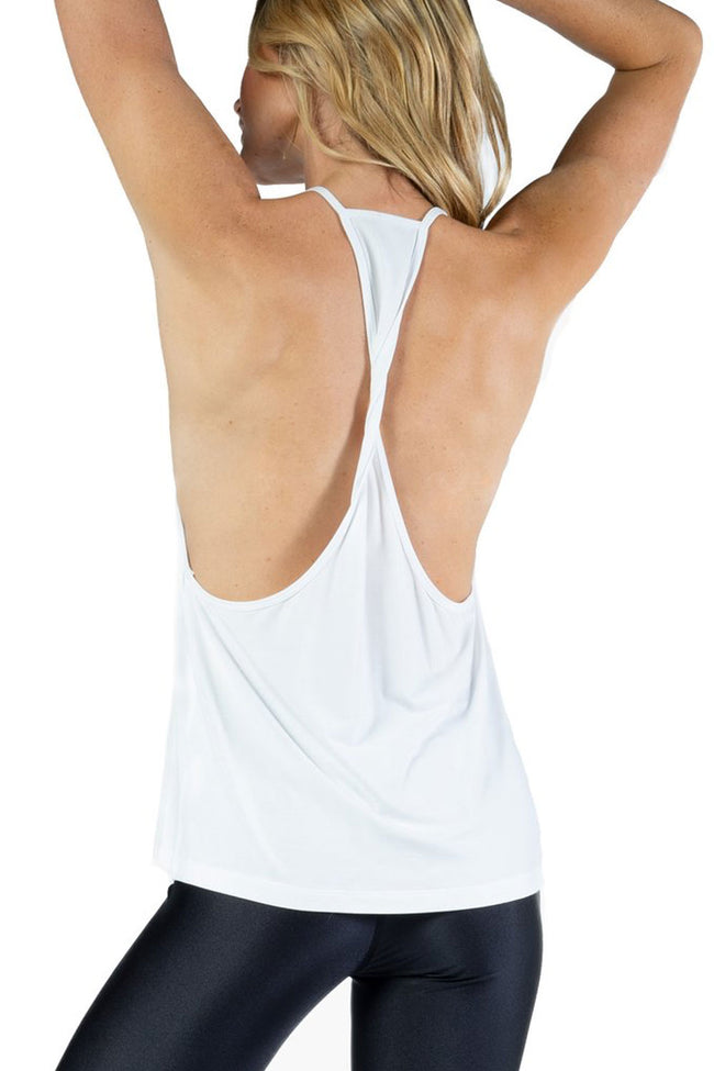 Chill By Will Super Soft Essential Twist Back Tank in White