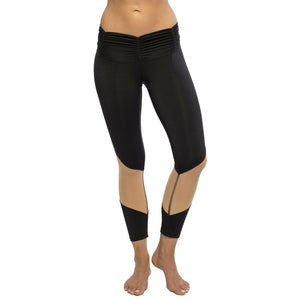 Ruched Waistband with Nude Mesh Legging