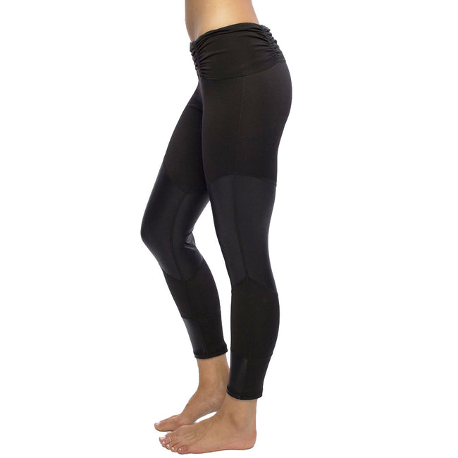 Mixed Media Ruched Black Legging
