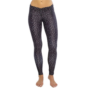 Dot Printed Legging With Ruched Waistband and Mesh Insert
