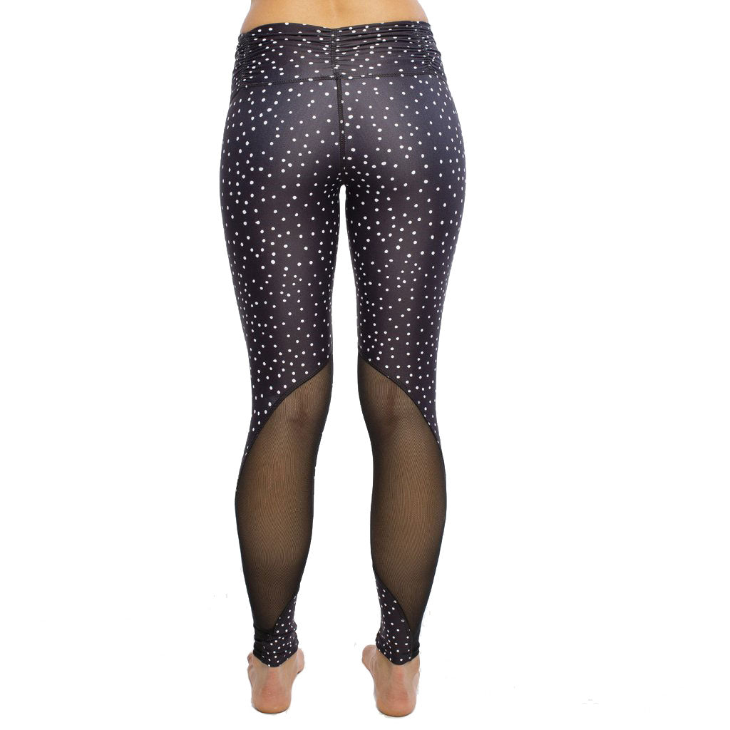 Dot Printed Legging Ruched Waistband and Mesh Insert