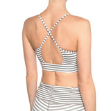 Chill by Will Cross Back Bra, Gray and White Stripe
