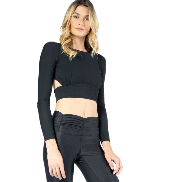 f5d5d526 ... Black Rib Long Sleeve Top With Open Back Detail From Chill By Will