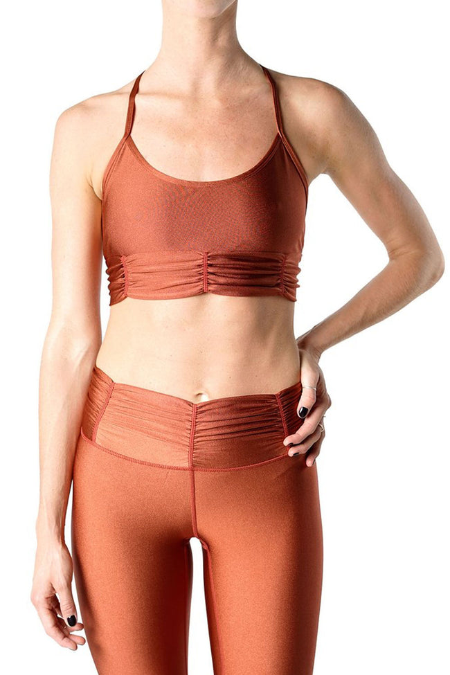 Copper T-back activewear bra with rouched and gathered details from Chill By Will