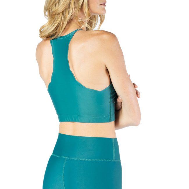 Mid-Support Scallop Edge Bra in Emerald from Chill By Will