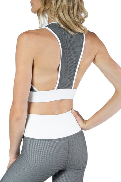 Stella Bra with Mesh Overlay detail in Pewter and White from Chill By Will
