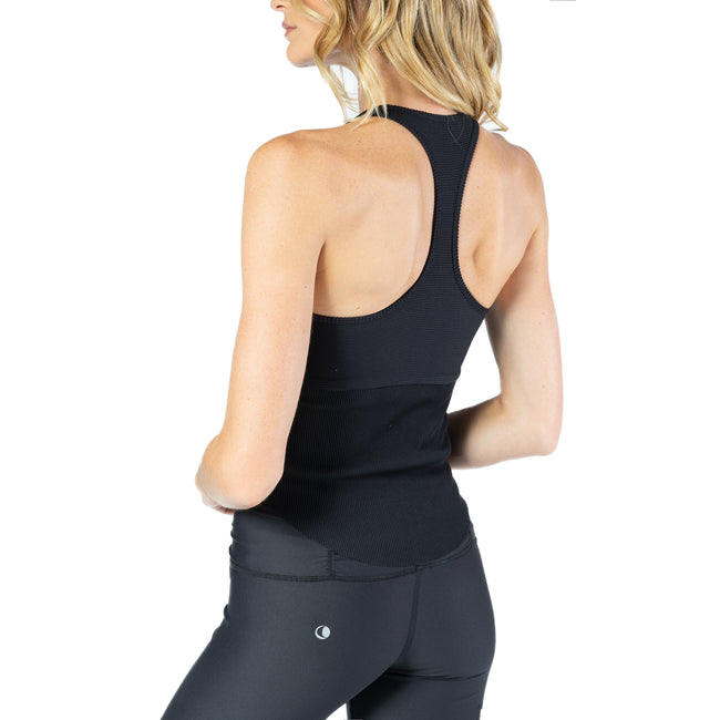 Ribbed Racer Back Tank in Black From Chill By Will