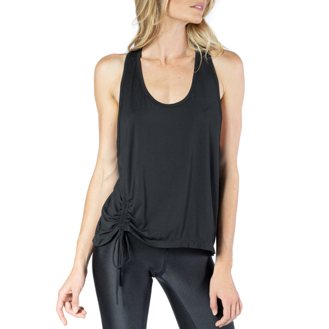 Racer Back Tank With Side Rouched Drawstring Detail from Chill By Will
