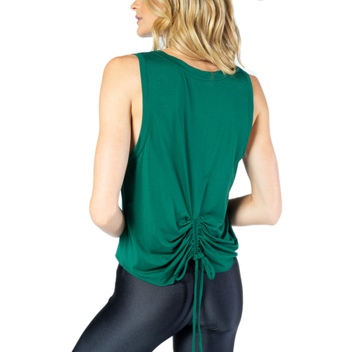 Ruched Drawstring Back Active Top From Chill By Will