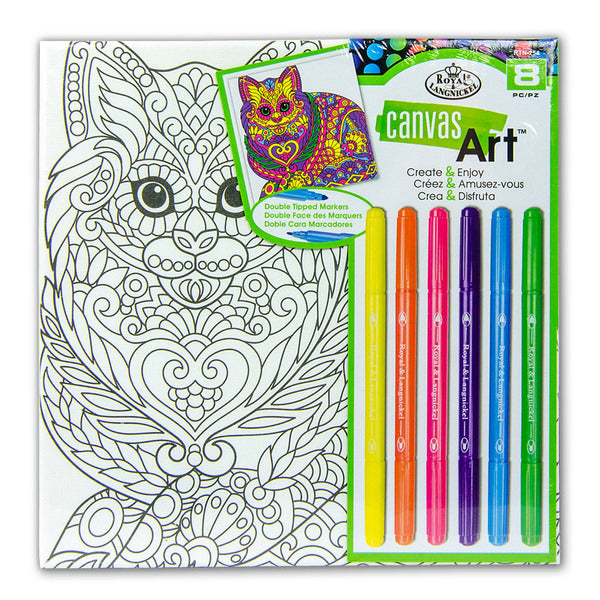 Canvas Art Markers Cat