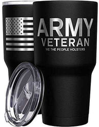 We The People Holsters - Army Veteran Mug - Stainless Steel Travel Mug with American Flag - 30 oz Insulated Tumbler - Veteran Gifts for Men - Military Deployment Gifts: Kitchen & Dining