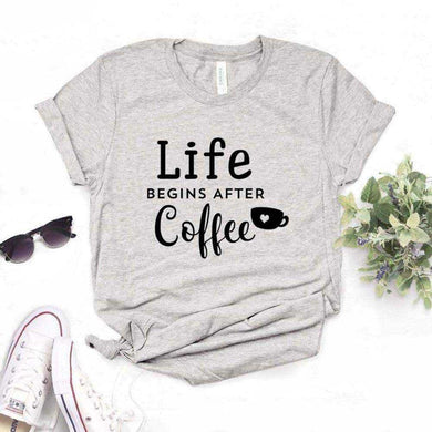 Life Begins After Coffee Women tshirt Casual t shirt - T-shirts
