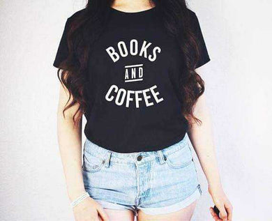 Books and Coffee Shirt - t shirt casual tops - T-shirts