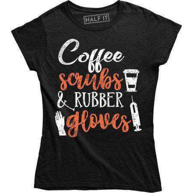 Coffee Scrubs And Rubber Gloves With Cup Image for Women Tee Shirt - T-shirts